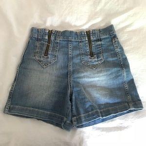 High waisted zip jean shorts